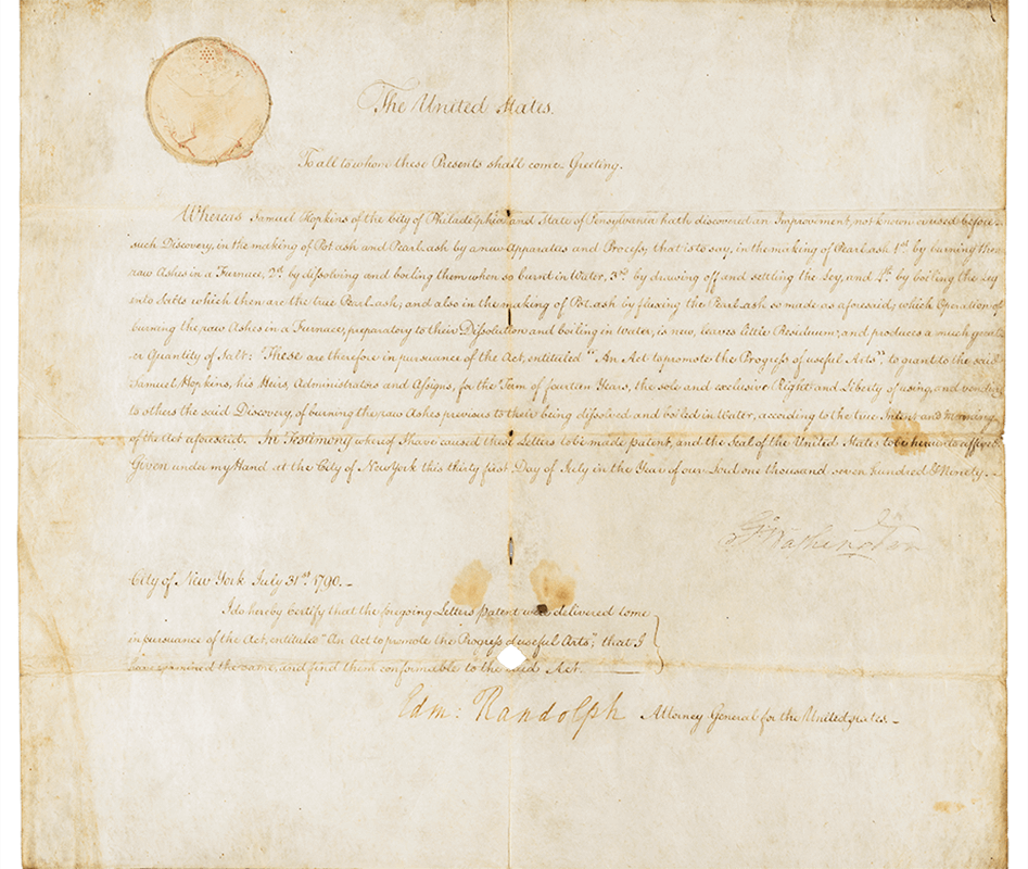 President George Washington signs the first U.S. patent, granted to Samuel Hopkins for improvements in 'the making of pot ash and pearl ash.'