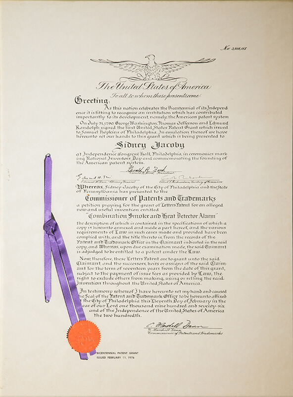 1976 Patent document signed by President Gerald Ford